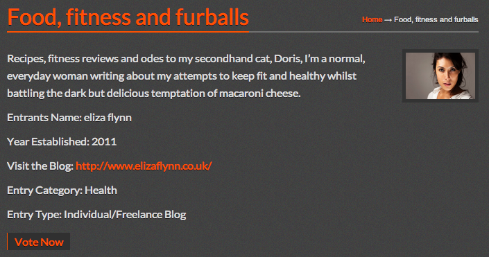 2014 UK Blog Awards - Food, Fitness & Furballs - Healthy Living London blog up for shortlist