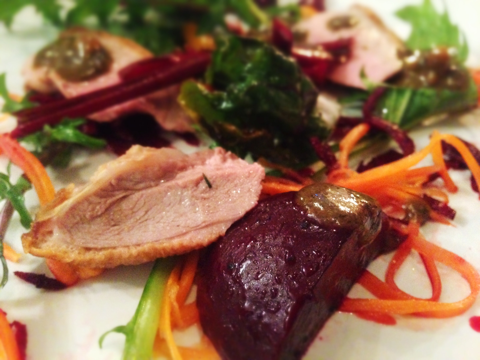 The Dressing Room London Popup review - duck breast salad