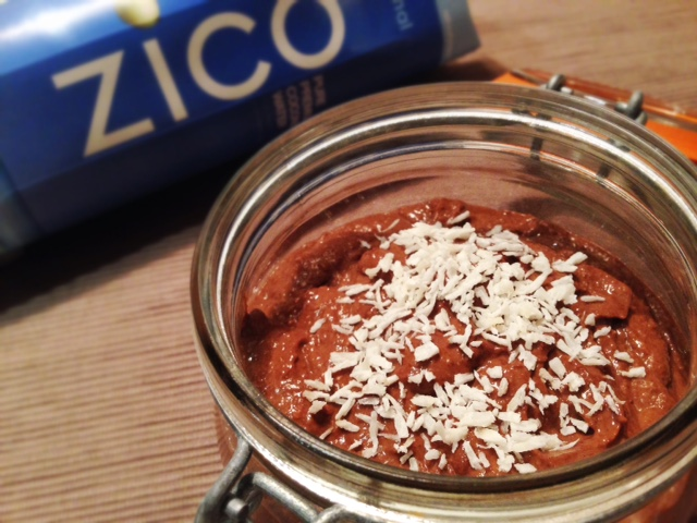 Chocolate avocado mousse recipe with zico coconut water
