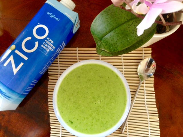 Green soup with zico coconut water
